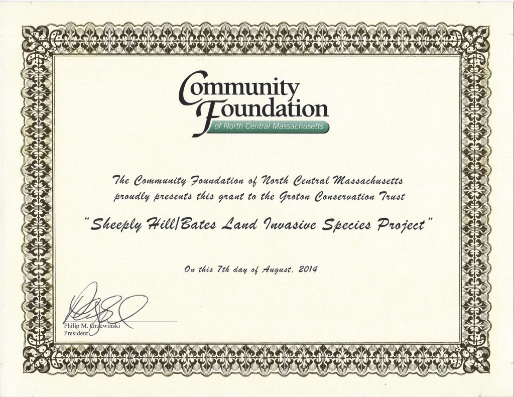 The certificate awarding our Bates-Shepley Hills Invasive Project Grant