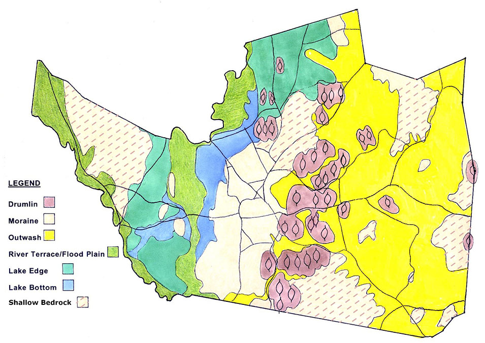 """This map, drawn by Bob Pine, shows the diversity of glacial landforms in Groton which has led to a bounty of ecological diversity.  The purple """"swarm of drumlins"""" is an unusual occurrence, with two of the best examples here and the Boston Harbor Islands."""